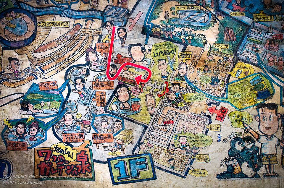 【廃墟】スパガーデン 湯~とぴあ(スパリゾート大鰐)_その3探索経路図示