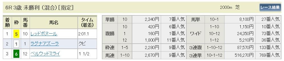 【払戻金】290610東京6R(三連複 万馬券 的中)