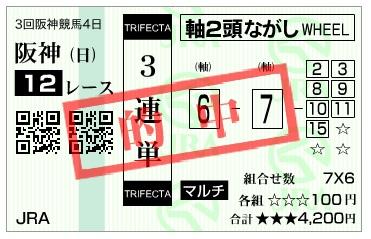 【的中馬券】290611阪神12R_2(三連複 万馬券 的中)