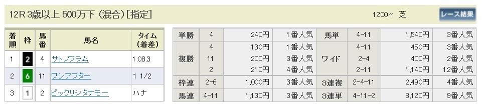 【払戻金】290618阪神12R(三連複 万馬券 的中)