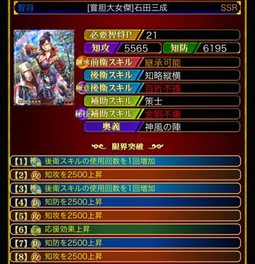 石田三成SSR 智将P21 8凸