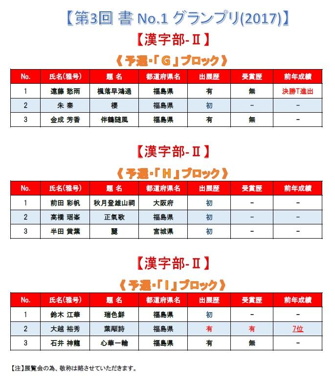 第3回 書 No-1 グランプリ-2017 漢字部-Ⅱ・G・H・I