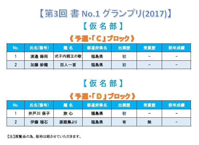 第3回 書 No-1 グランプリ-2017 仮名部-予選ブロック・C・D