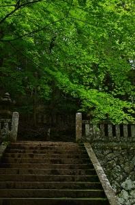 元就公墓所 一番上の段に続く階段