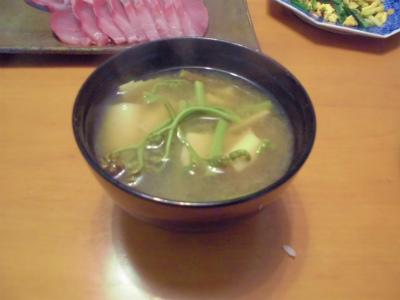 4.28筍とワラビの味噌汁
