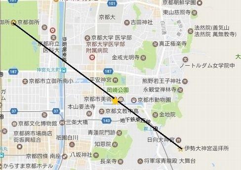 御所と日向大神宮遥拝所を結ぶ地図