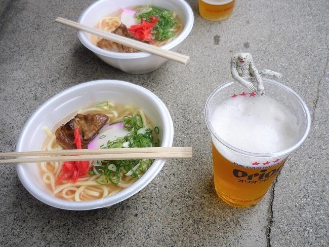 オリオンビールとソーキ―そばとジャミラ