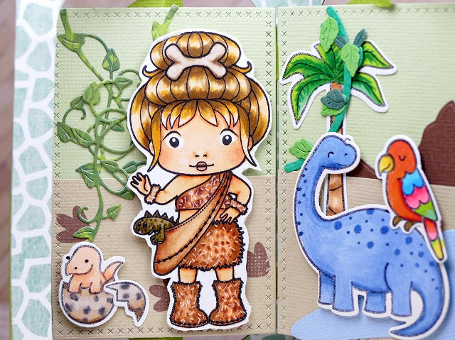 La-La Land Crafts - Marci with Dinasour + Lawn Fawn - from the Past - Card Making
