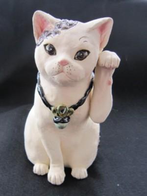 すず音窯招き猫 牡丹の白猫大サイズ