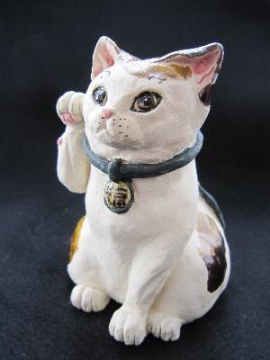招き猫アニメ顔三毛猫 すず音窯
