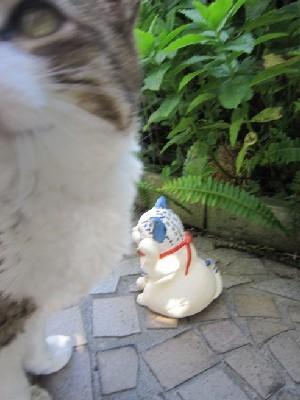 招き猫2-青トラ-すず音窯