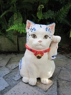 招き猫-青トラ-すず音窯 招き猫作家