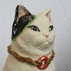 福招き猫3置物-すず音窯
