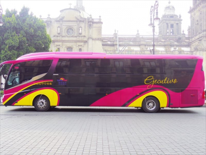 メキシコシティのピンクバスとタクシー (1)