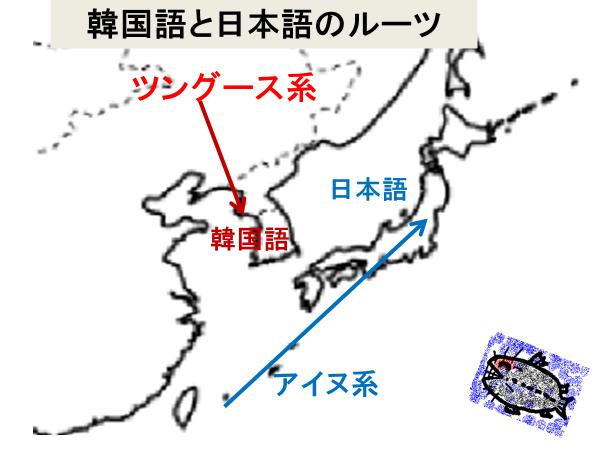 韓国語と日本語のルーツ(図)