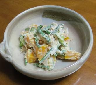 アスパラガスとカボチャ入りサラダ