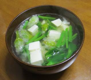 ネギ坊主入りスープ