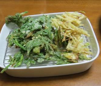 ウドの皮と新芽の天ぷら