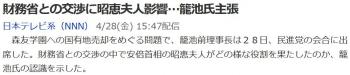 news財務省との交渉に昭恵夫人影響…籠池氏主張