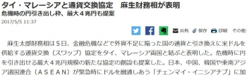 newsタイ・マレーシアと通貨交換協定 麻生財務相が表明