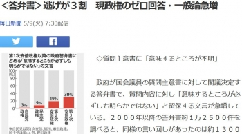 news<答弁書>逃げが3割 現政権のゼロ回答・一般論急増