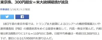 news東京株、300円超安=米大統領疑惑が波及