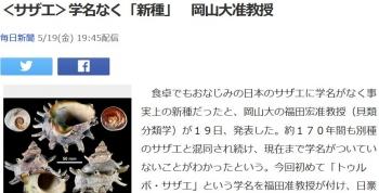 news<サザエ>学名なく「新種」 岡山大准教授