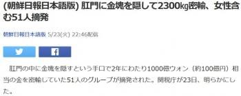 news(朝鮮日報日本語版) 肛門に金塊を隠して2300㎏密輸、女性含む51人摘発