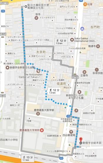 map創価学会総本部 駐日大韓民国大使館韓国文化院