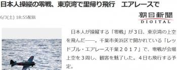 news日本人操縦の零戦、東京湾で里帰り飛行 エアレースで