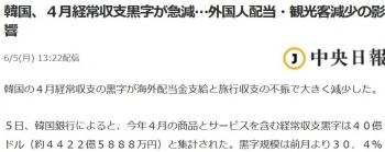 news韓国、4月経常収支黒字が急減…外国人配当・観光客減少の影響