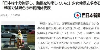 news「日本は十分謝罪し、賠償を約束していた」少女像撤去求める 韓国では異色の市民団体代表
