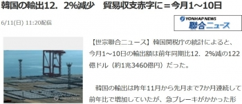 news韓国の輸出12.2%減少 貿易収支赤字に=今月1~10日
