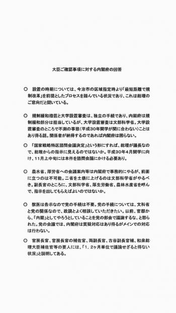 大臣ご確認事項に対する内閣府の回答