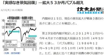news「実感なき景気回復」…拡大53か月バブル超え