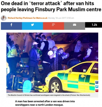 newsOne dead in 'terror attack' after van hits people leaving Finsbury Park Muslim centre