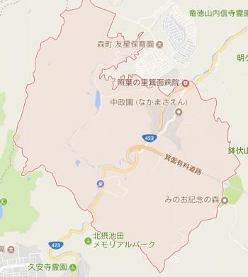 map大阪府箕面市下止々呂美