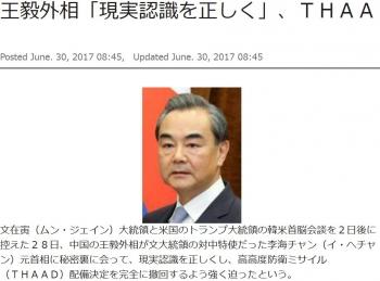 news王毅外相「現実認識を正しく」、THAAD撤回を強く迫る