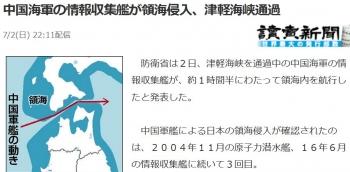 news中国海軍の情報収集艦が領海侵入、津軽海峡通過