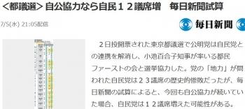 news<都議選>自公協力なら自民12議席増 毎日新聞試算
