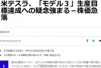 news米テスラ、「モデル3」生産目標達成への疑念強まる-株価急落