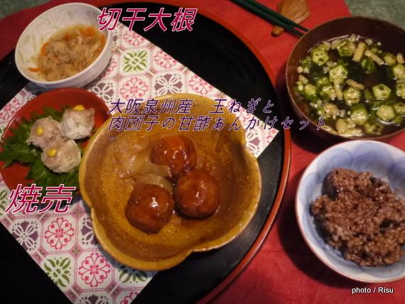 大阪泉州産 玉ねぎと肉団子の甘酢あんかけセット 献立|わんまいる 旬の手作りおかず「健幸ディナー」