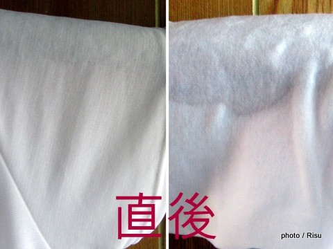 ミズノドライベクターエブリ、綿100%アンダーウエア 汗をかいた時のべたつき感比較1