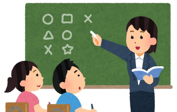 女性教諭 教師 黒板