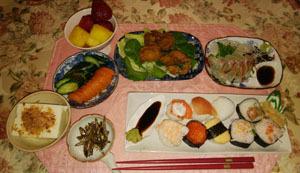晩御飯 手まり寿司 刺身他