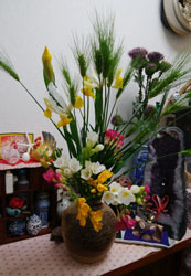 玄関にもお花