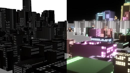 抽象都市 昼夜比較