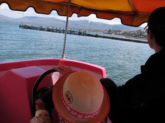 山中湖ボート内部より
