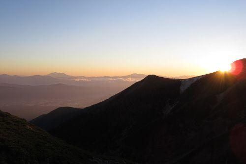 硫黄岳に沈む夕日