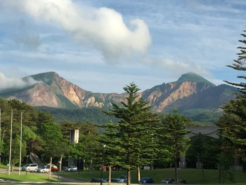 ホテルから見た磐梯山